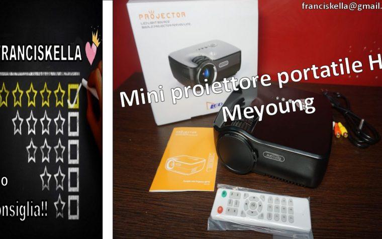 UNBOXING  e primo utilizzo Mini proiettore portatile HD , Meyoung